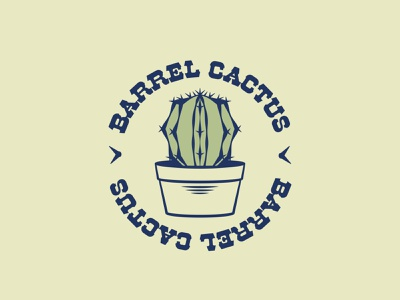 Barrel Cactus - 75/365 typography plants illustrations vector illustration badge logo botanical botany plant houseplants houseplant desert cacti cactus