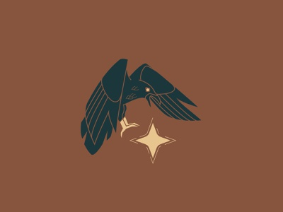 Star Taker - 122/365 vector illustrations illustration simple steal fly bird corvid