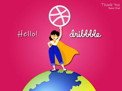 Dribbble Debut Shot planet earth supergirl dribbble best shot dribbble invite vector design illustration