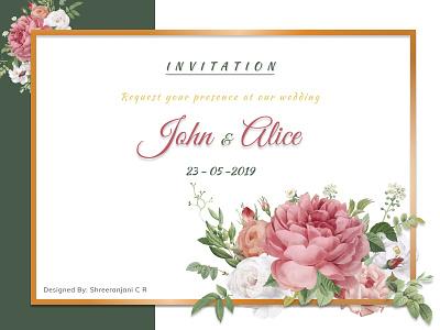 Floral Wedding Card watercolor typogaphy flowers flower illustration floral design wedding invitation wedding card figmadesign vector illustration design