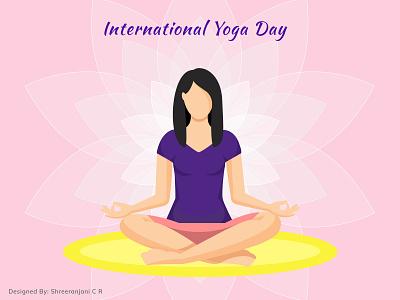 International Yoga Day fitness peace international yoga day yoga day lotus meditation girl illustration yoga dribbble vector figmadesign illustration design