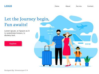 Travel and Tourism Landing Page tourism traveling webdesign webui ui vector figmadesign illustration design