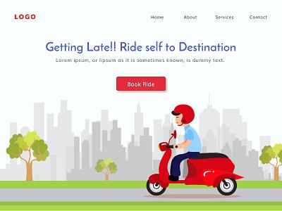 Bike Rental Landing Page website banner app landing page rental web ui web design rent rent bike bike ride vector figmadesign illustration design