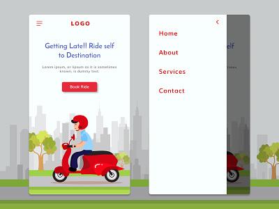 Bike Rental Landing Page - Mobile Version browser web design renting rental app mobile view mobile design ui  ux landing page bike ride app vector figmadesign illustration design