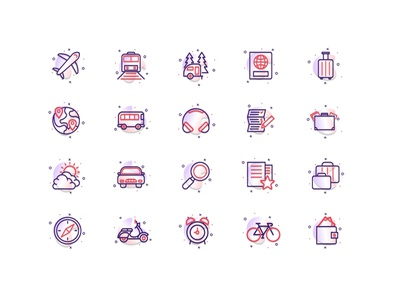 Travel/Transport Icon Set icons pack icons icon tour transport travel icon design iconography icon set vector figmadesign illustration design