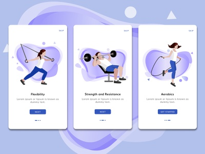 Fitness On Boarding Screens mobile gym app gym dribbble screen onboarding fitness app fitness mobile app mobile design ui ux ux ui app vector figmadesign illustration design