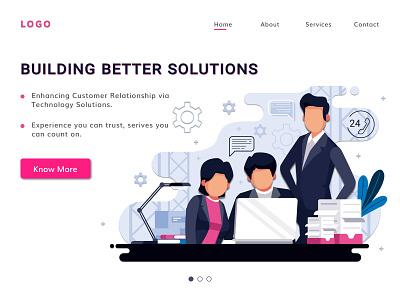 Business Solutions Banner ui ux webdesign business solution business website design landing page vector figmadesign illustration design