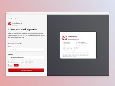 Email Signature Generator prototype web  design toggle night mode design form signature email dark theme theme app codepen ux ui