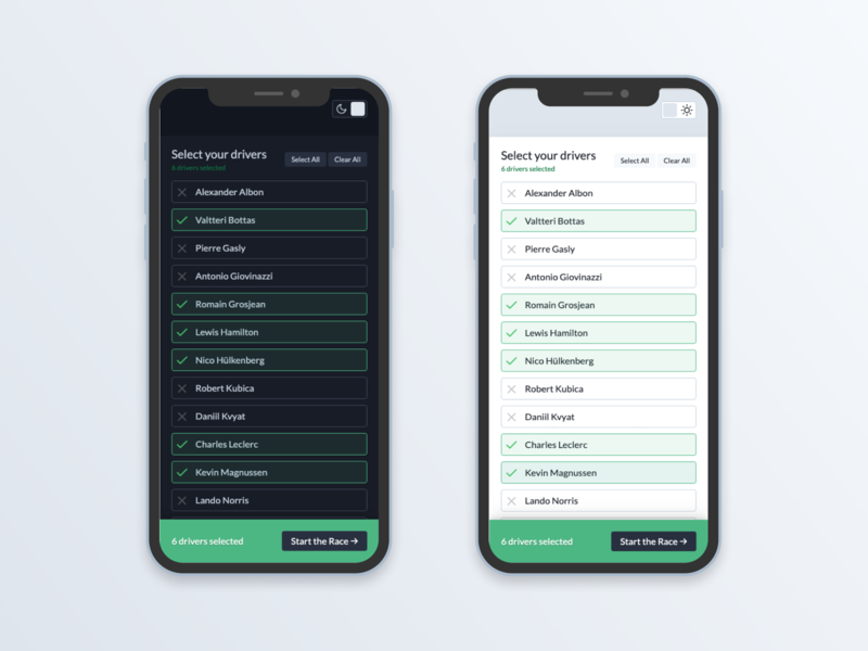 Select UI and Dark Mode prototype animation mobile select f1 formula 1 toggle night mode component codepen ui ux