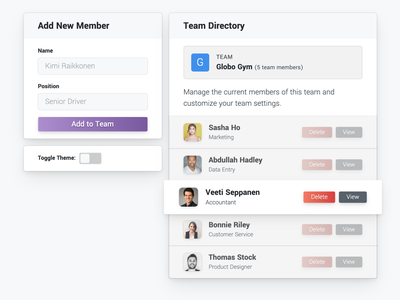 Team Directory directory list team dashboard interface codepen component toggle design ux ui