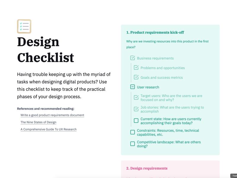 design checklist sticky cards list checklist checkbox codepen ux ui