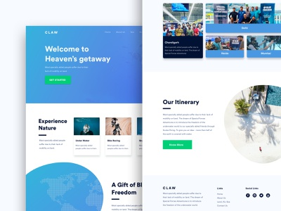 CLAW - Home Page Design ux ui website home screen trip itinerary adventure travel