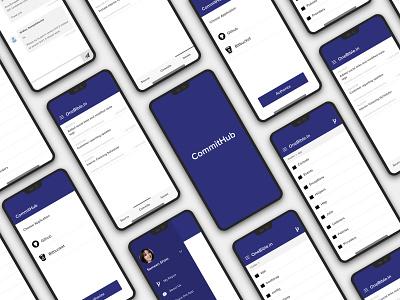 Commithub app design splash screen search bar mobile app development mobile app home screen andriod design