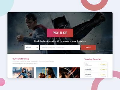 Pixulse - Movie Database Website web ux typography design app branding ui search bar home screen