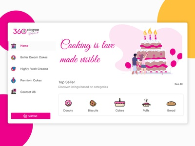 360 Degree Cakes & Bakes vector logo illustrations spa bakes cakes cart shopping website ecommerce