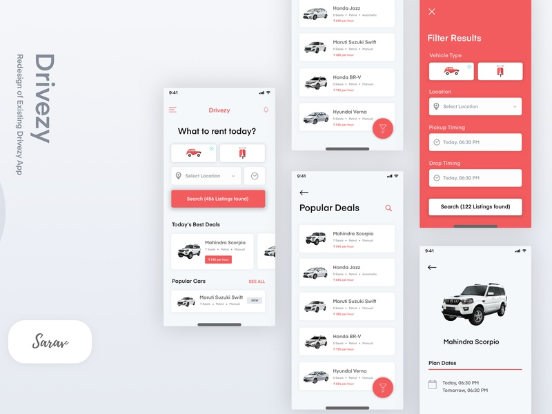 Drivezy illustration mobileux mobileui mobile app filter redesign home screen search bikes cars drivezy