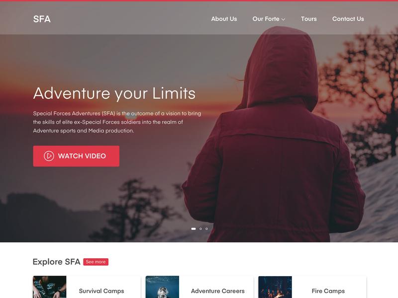 Special Force Adventures web design website