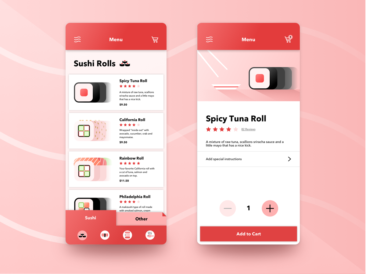 Order Sushi - SUSHI APP japan japanese food sketch ux design interaction design visual design app sushi