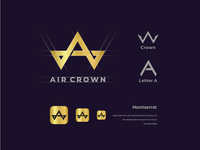 Air Crown logo presentation app brand identity creative design crown logo crown air icon vector awesome inspiration graphic brand logo designer illustration branding design