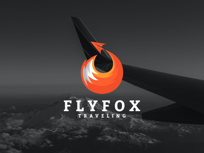 fly fox logo combination simple travel fly fox dualmeaning company awesome inspiration graphic logo designer illustration branding design