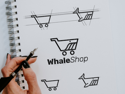 whaleshop combination shop whale icon vector awesome inspiration graphic brand logo designer illustration branding design