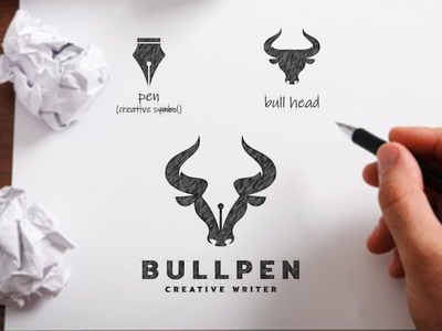 BULLPEN pen creative bull artwork vector awesome dualmeaning branding illustration inspiration graphic brand designer logo design