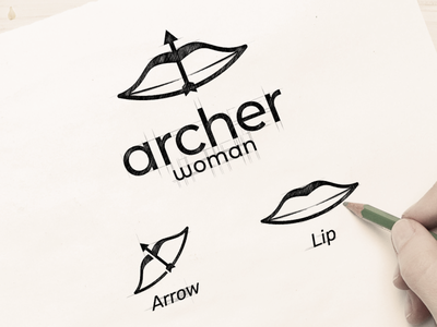 archer women lips arrow woman archer vector awesome inspiration graphic brand designer logo illustration branding design