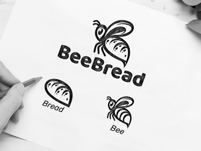 BeeBread bread bee vector awesome inspiration graphic designer brand logo branding illustration design