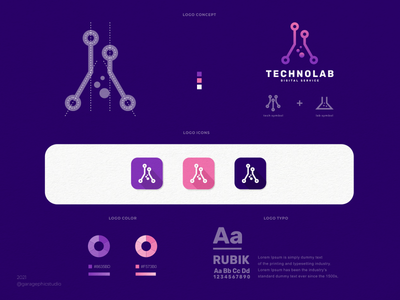 TECHNOLAB simple icons symbol awesome dualmeaning lab technology tech creative typography icon company illustration branding brand vector graphic design logo