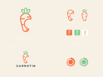 CARROTIN identity icon minimalist modern brand identity art lettering graphicdesign lettermark carrot vector awesome inspiration graphic designer brand branding logo illustration design