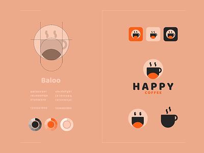 happy coffee color brand identity identity icons modern logo modern simple icon coffee happy vector awesome inspiration designer graphic brand branding logo illustration design