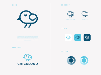 chickcloud dualmeaning modern concept identity combination logo company icon cloud chick clean vector awesome inspiration designer graphic brand branding logo illustration design