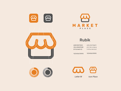 Market Place simple concept modern clean dual meaning logo combination logo lettermark marketplace market vector awesome inspiration designer company graphic brand branding logo illustration design