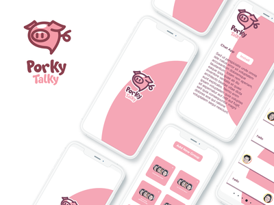 Porky talky ux ui vector inspiration graphic brand logo branding illustration design