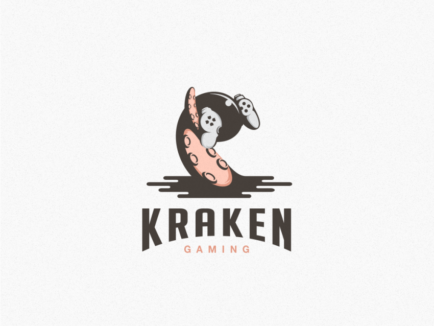 Kraken Gamer kraken logotype hidden meaning cartoon animal typography dualmeaning inspiration vector icon illustration graphic designer art company awesome branding brand design logo