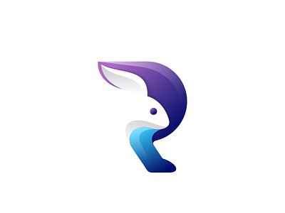 R  with Rabbit colors gradient letter r rabbit icon monogram art animal dualmeaning inspiration vector illustration graphic designer company awesome brand branding design logo