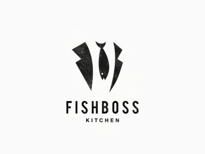 Fish Boss Logo inspiration animal dualmeaning vector illustration graphic designer company awesome branding brand design food logo kitchen logo boss logo fish logo logo kitchen boss fish