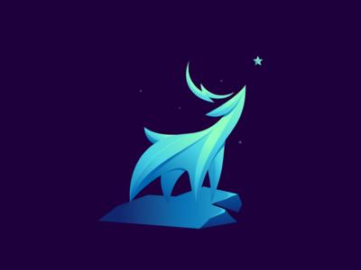 Deer in the night illustration