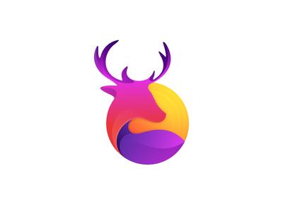 Deer with Sunset sunset sun deer logo deer monogram animal company inspiration icon awesome vector illustration graphic designer branding brand design logo