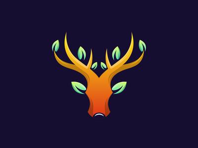 Deer Tree Design Combination leaf tree logo tree deer logo deer art animal hidden meaning dualmeaning inspiration icon awesome vector illustration graphic designer branding brand design logo