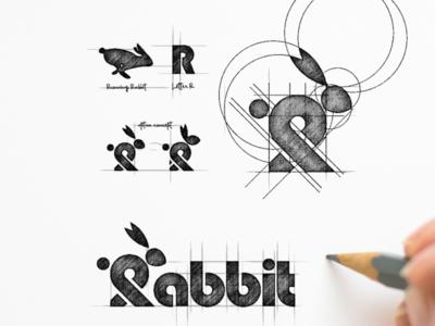 Rabbit Logo Process logo process grid sketch garagephic studio wordmark logo rabbit logo rabbit animal logo animal company icon illustration vector graphic designer branding brand design logo