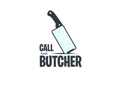 CALL YOUR BUTCHER LOGO garagephic studio butcher call phone logo phone knife logo knife company dualmeaning awesome icon vector illustration graphic designer branding brand design logo