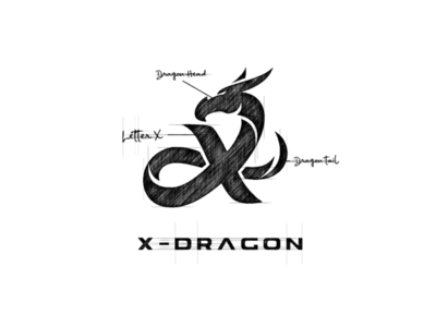 X - Dragon Logo Design sketch garagephic studio strong letter x logo dragon logo dragon animal letter x lettter mark dualmeaning icon vector illustration graphic designer branding brand design logo