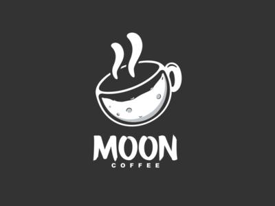 Moon Coffee Logo Combination negative space logo negative space garagephic studio moon logo coffee logo coffee moon dualmeaning icon vector illustration graphic designer branding brand design logo