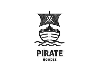 Pirate Noodle Logo dual meaning logo combination logo noodle logo noodle pirate logo pirate dualmeaning inspiration icon vector illustration graphic designer branding brand design logo