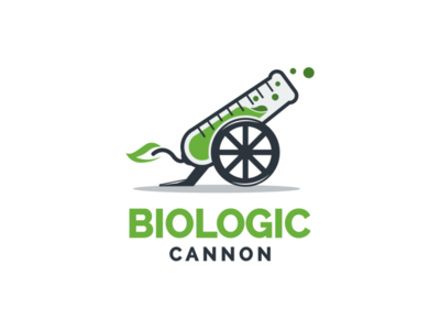 Biologic Cannon garagephic studio biology biotech biologic shot arsenal cannon water cannon dual meaning logo dual meaning inspiration icon vector illustration graphic designer branding brand design logo