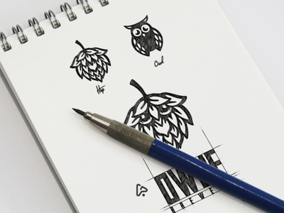 Owlie Brewery garagephic studio negative space owl logo owl brewery logo brewery dual meaning logo dual meaning creative animal inspiration icon vector graphic illustration designer branding brand design logo