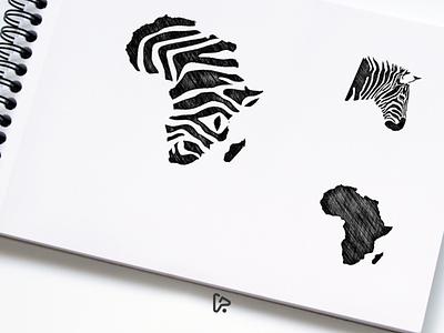 African Zebra Logo Design negative space garagephic studio hidden meaning logo combination zebra logo zebra africa logo africa animal icon designer vector illustration graphic branding brand design logo