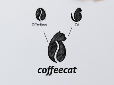 Coffee Cat Logo Combination negative space logo negative space garagephic studio sketch coffee bean coffee logo coffee cat logo cat animal inspiration icon vector illustration graphic designer branding brand design logo