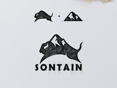 Bison and Mountain Logo Combination